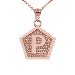 "Rose Gold Letter ""P"" Initial Pentagon Pendant Necklace"