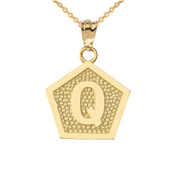 "Yellow Gold Letter ""Q"" Initial Pentagon Pendant Necklace"
