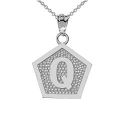 "White Gold Letter ""Q"" Initial Pentagon Pendant Necklace"