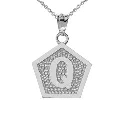 "Sterling Silver Letter ""Q"" Initial Pentagon Pendant Necklace"
