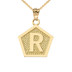 "Yellow Gold Letter ""R"" Initial Pentagon Pendant Necklace"