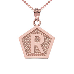 "Rose Gold Letter ""R"" Initial Pentagon Pendant Necklace"