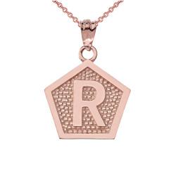 "Rose Gold Letter ""R"" Initial Pentagon Pendant Necklace"