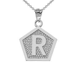 """Sterling Silver Letter """"R"""" Initial Pentagon Pendant Necklace"""