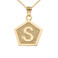 "Yellow Gold Letter ""S"" Initial Pentagon Pendant Necklace"