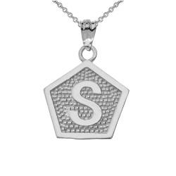 "White Gold Letter ""S"" Initial Pentagon Pendant Necklace"