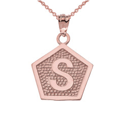 "Rose Gold Letter ""S"" Initial Pentagon Pendant Necklace"