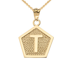 "Yellow Gold Letter ""T"" Initial Pentagon Pendant Necklace"