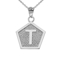 "White Gold Letter ""T"" Initial Pentagon Pendant Necklace"