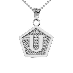 "White Gold Letter ""U"" Initial Pentagon Pendant Necklace"