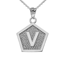 "White Gold Letter ""V"" Initial Pentagon Pendant Necklace"