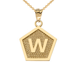 "Yellow Gold Letter ""W"" Initial Pentagon Pendant Necklace"