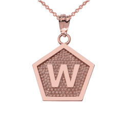"Rose Gold Letter ""W"" Initial Pentagon Pendant Necklace"