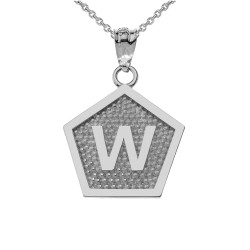 """Sterling Silver Letter """"W"""" Initial Pentagon Pendant Necklace"""