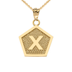 "Yellow Gold Letter ""X"" Initial Pentagon Pendant Necklace"