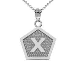 "White Gold Letter ""X"" Initial Pentagon Pendant Necklace"
