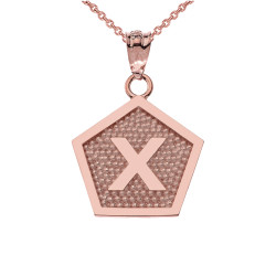 "Rose Gold Letter ""X"" Initial Pentagon Pendant Necklace"