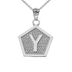 "White Gold Letter ""Y"" Initial Pentagon Pendant Necklace"