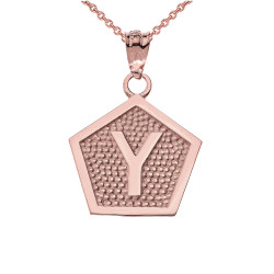 "Rose Gold Letter ""Y"" Initial Pentagon Pendant Necklace"