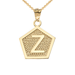 "Yellow Gold Letter ""Z"" Initial Pentagon Pendant Necklace"