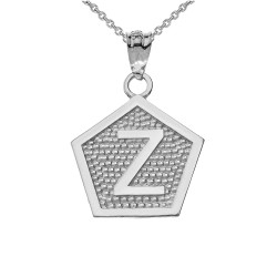"White Gold Letter ""Z"" Initial Pentagon Pendant Necklace"