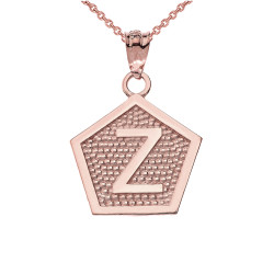 "Rose Gold Letter ""Z"" Initial Pentagon Pendant Necklace"