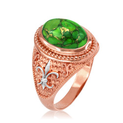 Two-Tone Rose Gold Green Copper Turquoise Fleur-De-Lis Gemstone Ring