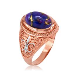 Two-Tone Rose Gold Purple Copper Turquoise Fleur-De-Lis Gemstone Ring