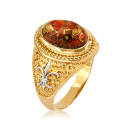 Two-Tone Yellow Gold Orange Copper Turquoise Fleur-De-Lis Gemstone Ring