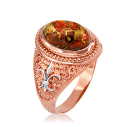Two-Tone Rose Gold Orange Copper Turquoise Fleur-De-Lis Gemstone Ring