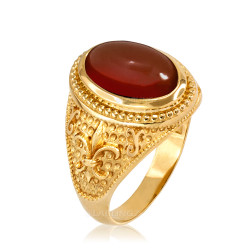 Yellow Gold Red Onyx Fleur-De-Lis Gemstone Ring