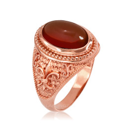 Rose Gold Red Onyx Fleur-De-Lis Gemstone Ring
