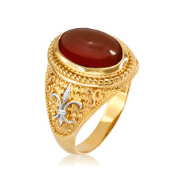Two-Tone Yellow Gold Red Onyx Fleur-De-Lis Gemstone Ring