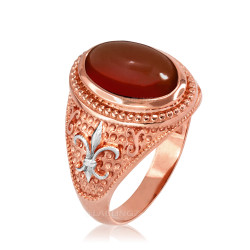 Two-Tone Rose Gold Red Onyx Fleur-De-Lis Gemstone Ring