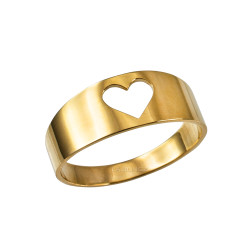 Polished Gold Open Heart Ring Band