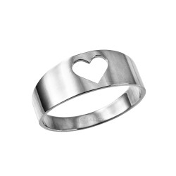 Polished White Gold Open Heart Ring Band