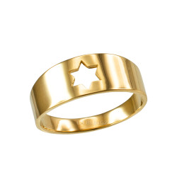 Polished Gold Star Of David Ring Band