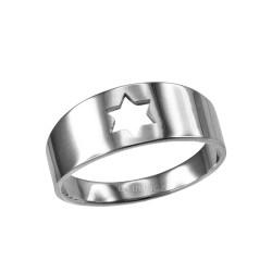Polished White Gold Star Of David Ring Band