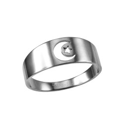 Polished White Gold Islamic Crescent Moon Ring Band