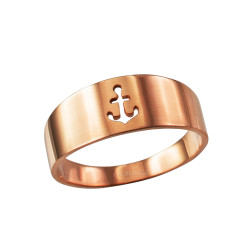 Polished Rose Gold Anchor Ring Band