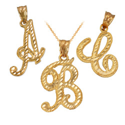 Yellow Gold Sparkle-Cut Letter Initial Script Pendant Necklace