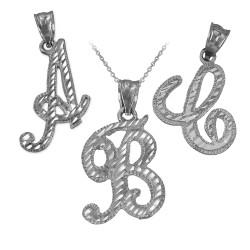 White Gold Sparkle-Cut Letter Initial Script Pendant Necklace