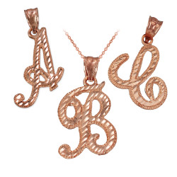 LA BLINGZ 14K Rose Gold Double Ouroboros Infinity Snakes Pendant Necklace