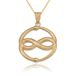 Yellow Gold Double Ouroboros Infinity Snakes Pendant Necklace
