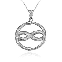 White Gold Double Ouroboros Infinity Snakes Pendant Necklace