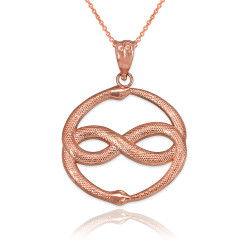Rose Gold Double Ourosboros Infinity Snakes Pendant Necklace