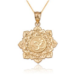 Yellow Gold Om Lotus Mandala Pendant Necklace