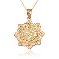 Yellow Gold Om Lotus Mandala Pendant Necklace