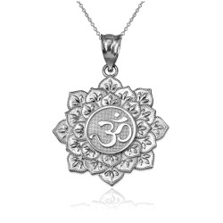 White Gold Om Lotus Mandala Pendant Necklace