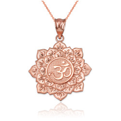 Rose Gold Om Lotus Mandala Pendant Necklace